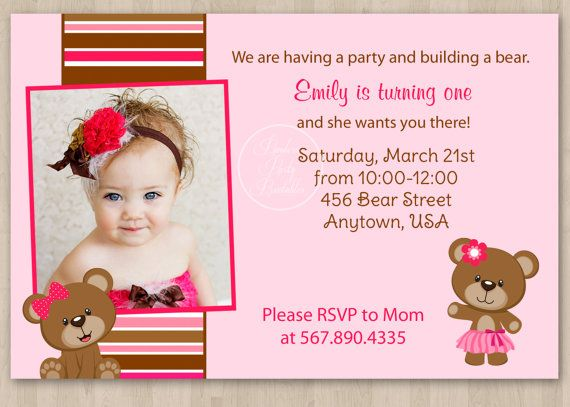 17 Best images about 3rd Birthday – Teddy Bear Birthday Invitation