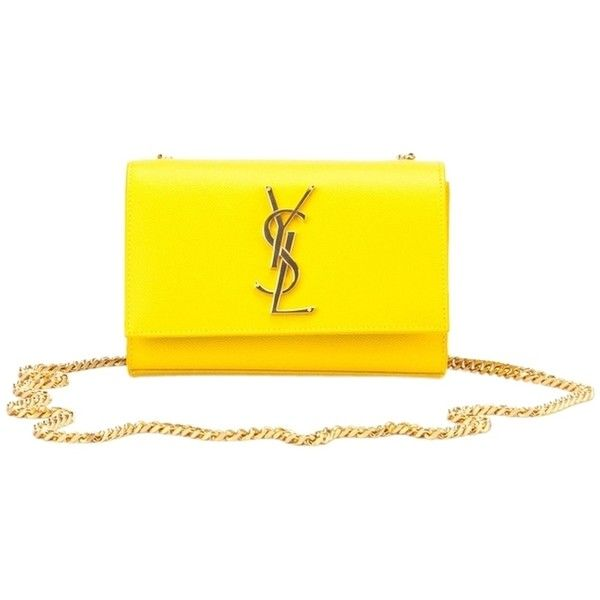 Pre-owned Saint Laurent Ysl Monogram Chain Patent Leather Wallet... (€1.340) ❤ liked on Polyvore featuring bags, handbags, clutches, yellow, patent leather purse, chain purse, yellow clutches, monogram handbags and yves saint laurent purses