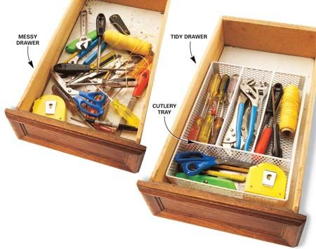 Cutlery organizers come in many sizes.  Use them as a tool chest organizer!