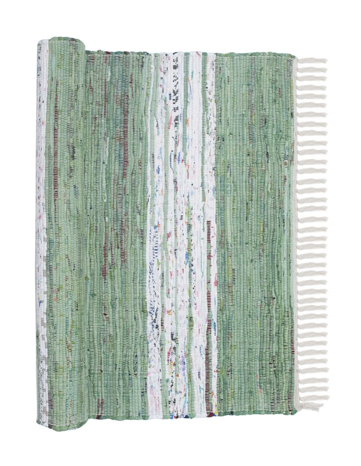 Holger green and white striped Scandinavian rag rug and hallway runner from Skandihome, home of Swedish and Scandinavian rugs and gifts