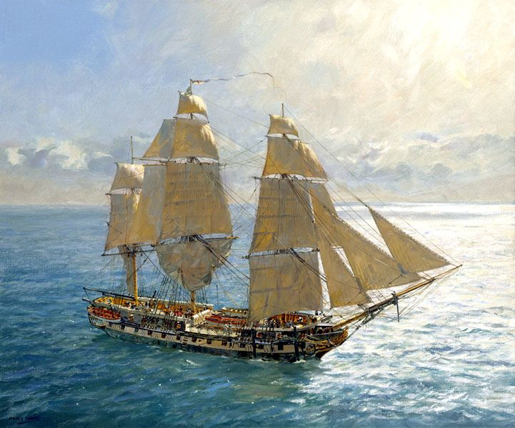 'Flying Kites' - HMS Surprise under Royals and Stunsails. - Geoff Hunt