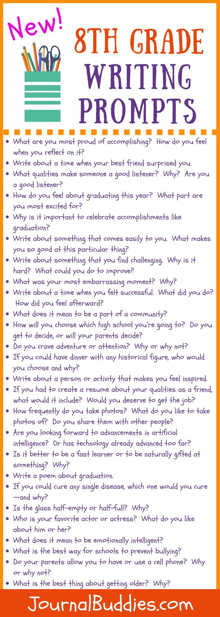 New Eighth Grade Writing Prompts