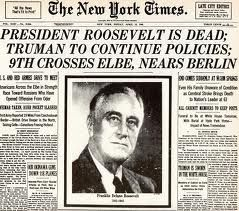 12th April 1945 The Death of President  Franklin Roosevelt  - http://www.warhistoryonline.com/war-articles/12th-april-1945-the-death-of-president-franklin-roosevelt.html