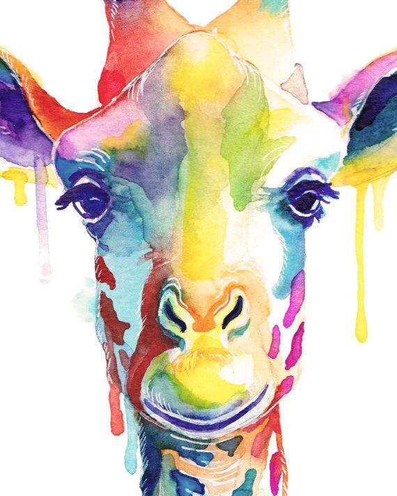 Colorful Giraffe Watercolor Print - Wild Animals - Wall art - Color - Kawaii