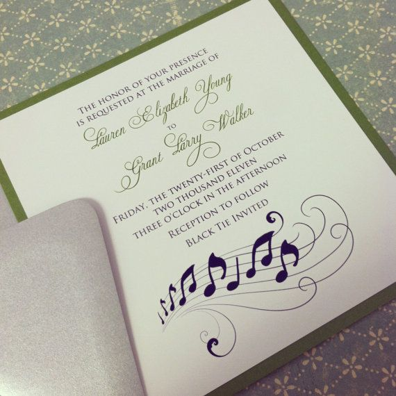 Music Note Romantic Wedding Invitation Suite  by PeacockPrinting, $5.00