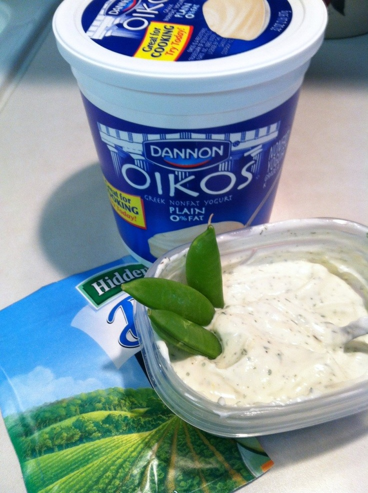 *HEALTHY VEGGIE DIP* Its so hard to eat raw veggies without any dip, but most dips are so high in calroies! Mix plain greek yogurt with a Hidden Valley ranch packet (I do 1 cup of yogurt to half a ranch packet) A healthy & tasty way to eat your veggies! I cup of plain greek yogurt: about 130 calories vs. 480 calories for a cup of sour cream!!!! A good tip is to make it in small batches