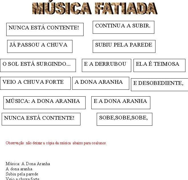 Resultado De Imagem Para Musica Dona Aranha Fatiada Musica Dona