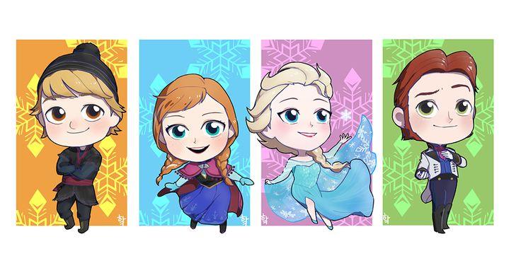 Frozen Cute Chibi Characters Wallpaper
