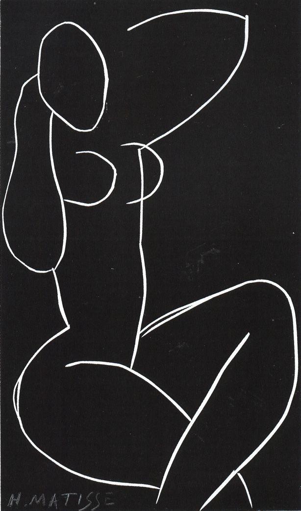 Matisse - NUDE SEATED WIT CROSSED LEGS (II)  cut linoleum  1941-1942