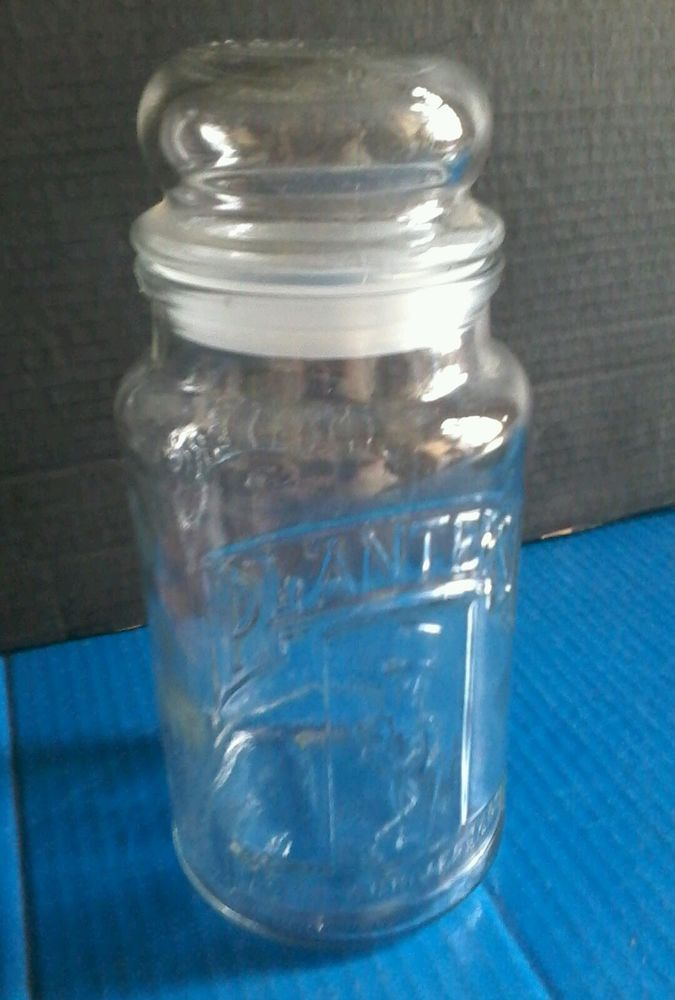 "1981 Planters Peanuts 75th Anniversary Clear Glass Jar 8"" COLLECTIBLE GLASSWARE  #PlantersPeanuts"