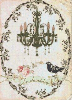 French Shabby Chic Chandelier & Bird por BellaStitcheryDesign, $9.99