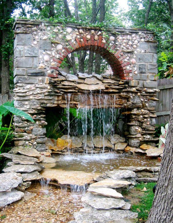 A cool stone rock waterfall.