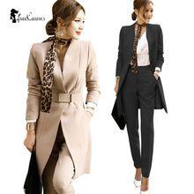 Dos Piezas de la Mujer Ropa 2017 Desgaste de La Oficina Formal Blazer Jacket Tops y Pantalones Pitillo hasta los Tobillos de Las Mujeres Trajes de Dos Piezas(China (Mainland))