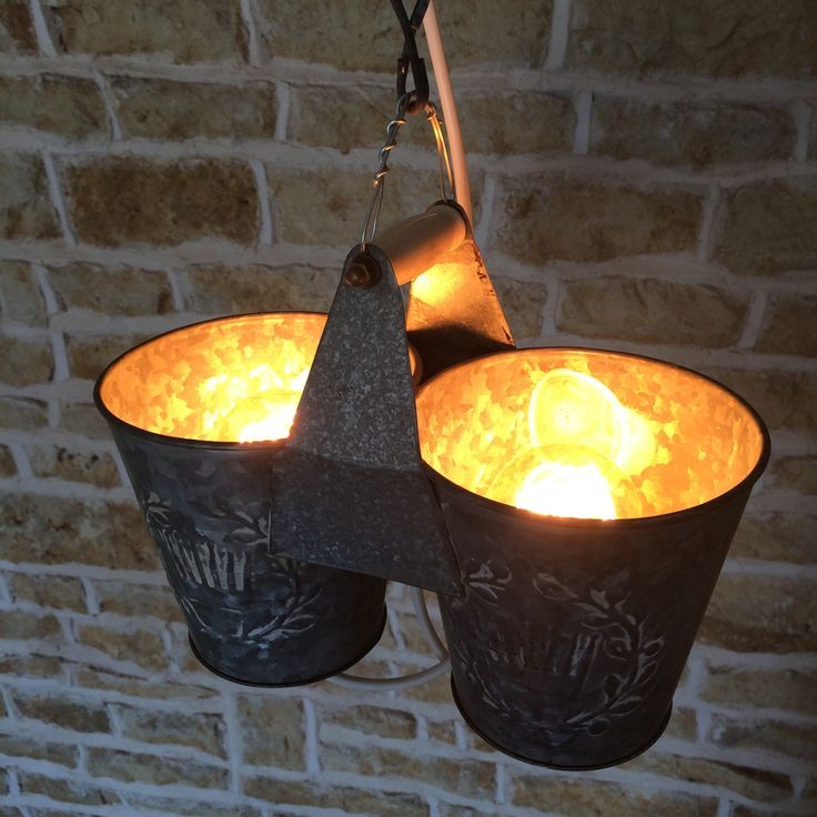 Double Light Rustic Bucket Hanging Ceiling Light Pendant Flower Pot Metallic Recycled Upcycled Uplighter Barn Cottage Kitchen Shabby Chic by Uniquelightingco on Etsy https://www.etsy.com/listing/203351284/double-light-rustic-bucket-hanging