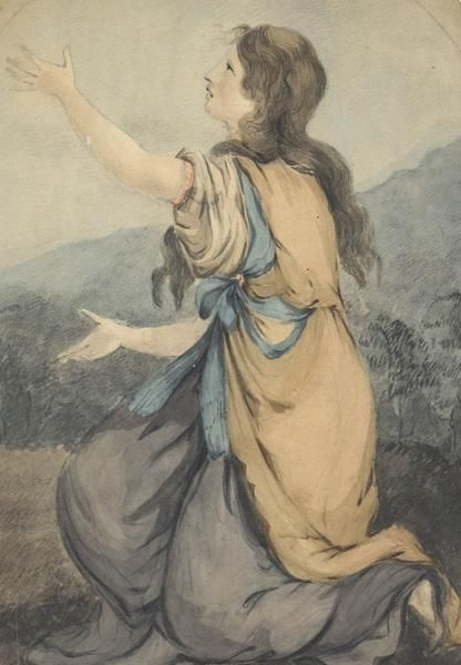 Kneeling Woman - 19th Century Watercolour