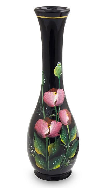 Thai Lacquered Wood Decorative Vase Hand Painted Poppies - Crimson ...
