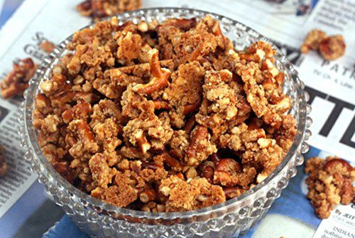 Malted Pretzel Crunch  4 cups salted mini pretzels - about ½ of a 16-ounce bag ½ cup tightly packed brown sugar ¼ cup granulated sugar 6 tablespoons milk powder ⅓ cup malted milk powder ½ teaspoon salt 14 tablespoons butter (1 stick, plus 6 tablespoons), melted