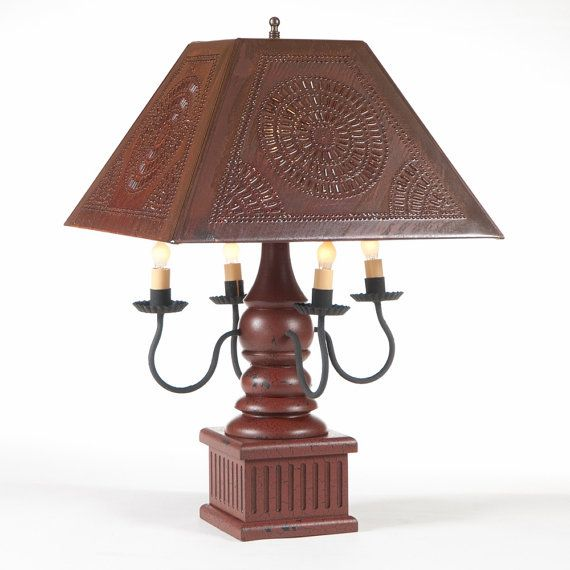 Red wood wrought iron punched tin lamp handcrafted ornate candelabra table light made in usa