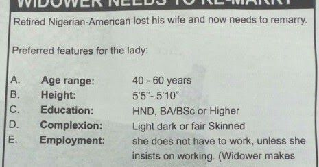 Welcome to Dafy's World  The retired Nigerian-American widower who lost his wife placed an advert on newspaper to find a new wife. As it was shared on Twitter... See full image below...  Funny Gist Photo