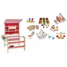 Houten Winkel Rood met Winkelpakket Luxe