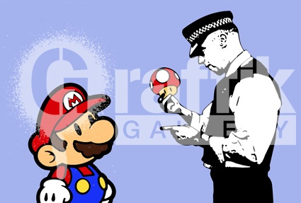 ICON  MARIO - STOP & SEARCH  Limited Edition Giclee Print  362x510mm  Available at Graffik Gallery