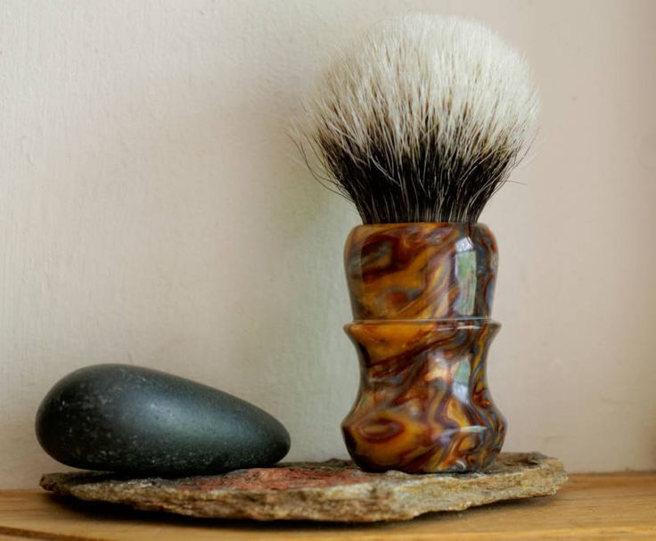Shaving Brush - Molten Metal Resin Handle Hand-Made with Two Band Finest Badger…