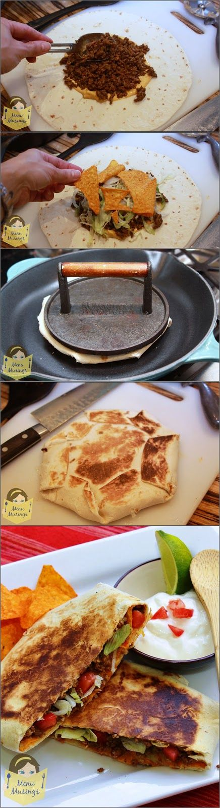 Beefy Crunch Wrap Supreme - Move over Taco Bell!  Now one of your fast food menu items can be in your hand at your own house! These are really easy to make and so easy to personalize. Step-by-step photos!