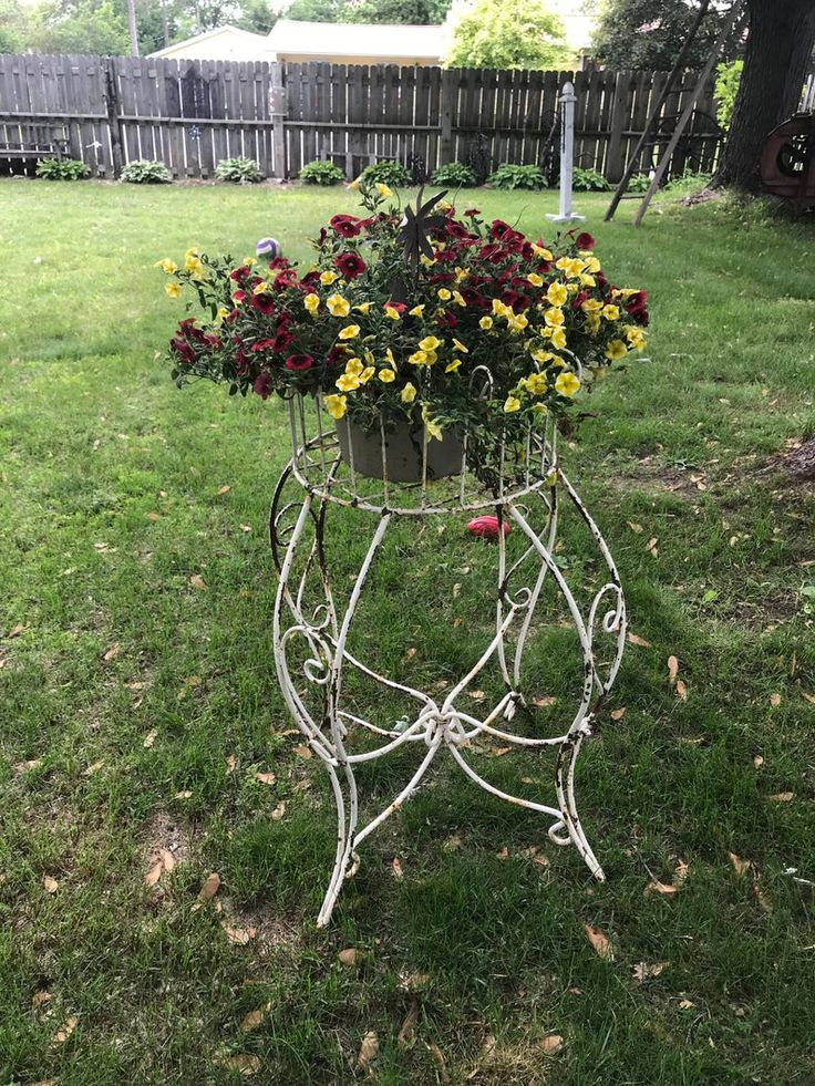 Antique white wrought iron fern plant stand large