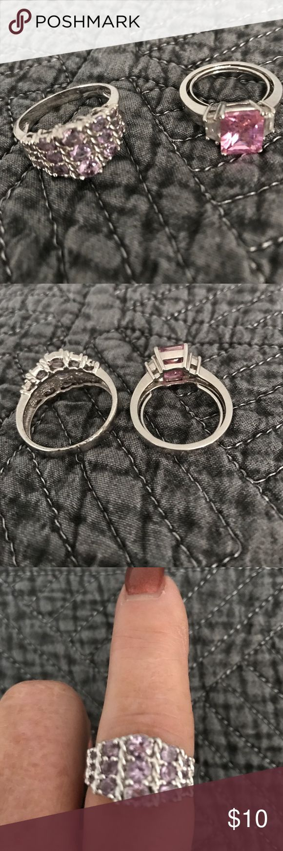 Set of two Pink Stone Rings Silver tone rings with pink stones one size 8 the multi stone is about a 9 NOW SPECIAL PRICE !!$5 Accessories
