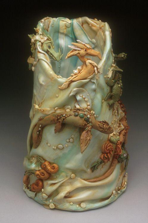Vase by Christi Friesen, polymer clay art