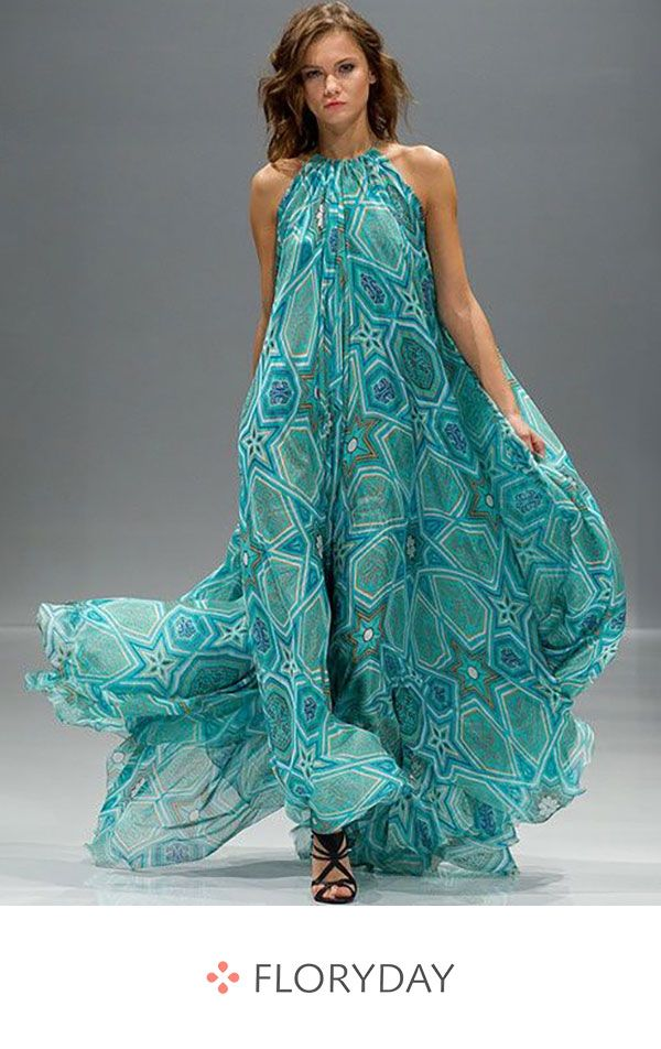 Geometric Peasant Sleeveless Maxi A-line Dress 5