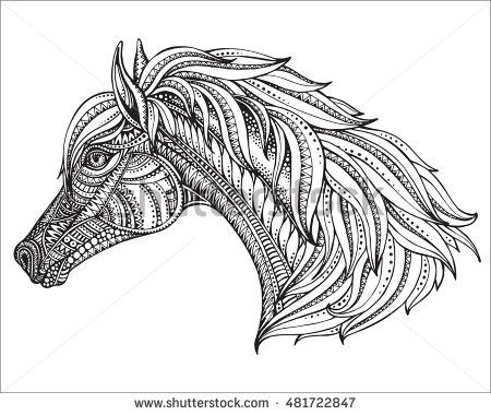 Hand drawn head of horse in graphic ornate style. Black and white vector illustration. It may be used for design of a t-shirt, bag, postcard, a poster and coloring book.