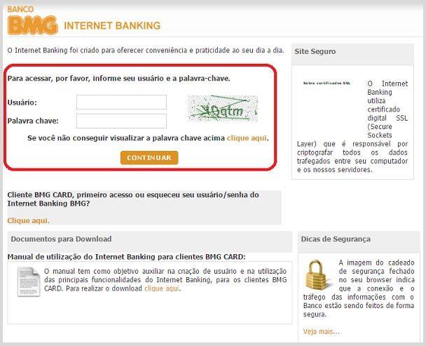 Cartao Bmg Fatura 2 Via Extratos Saldos Limites Internet Banking
