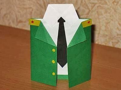 Поделка из бумаги военная рубашка