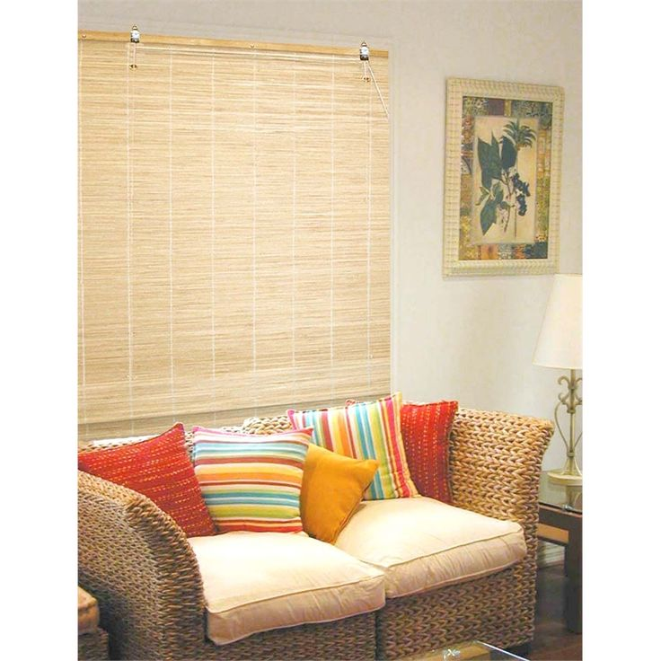 Bunnings - can be whitewashed, hang linen drapes next to them? Smart Home Products 180 x 210cm Natural Indoor Matchstick Blind