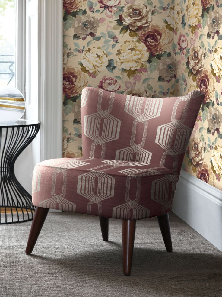 Geometric Woven Fabric and Watercolor Rose Wallcoverings. Villa Rosa Collection from Wallquest.