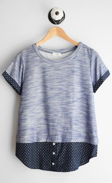 Navy short sleeve tee with jacquard contrast and rounded neckline. Fits true to …