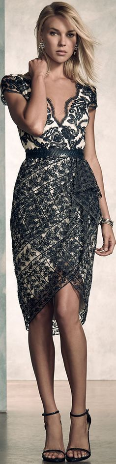@roressclothes closet ideas #women fashion  Marchesa Notte Short-Sleeve Belted Lace Cocktail Dress