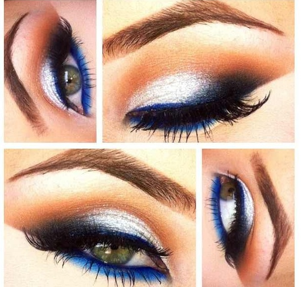 Touch of blue Did more of a brownish smokey on top and then applied the highly pigmented blue directly to the water line. It reflected off my eyes and made them look very blue