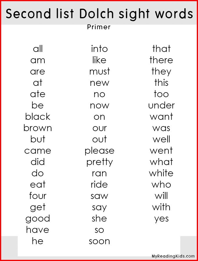 Dolch sight words lists! Second list dolch sight words for