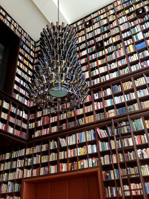 Wow. Boutique hotel in Albisguetli, Zurich, Switzerland: Antique books! beer-themed chandeliers! the hotel library!