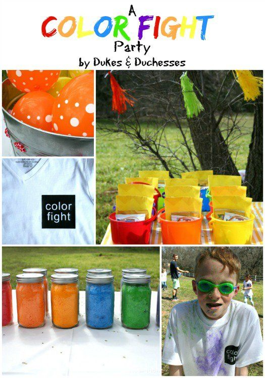 a bright and colorful color fight party with fun DIY details