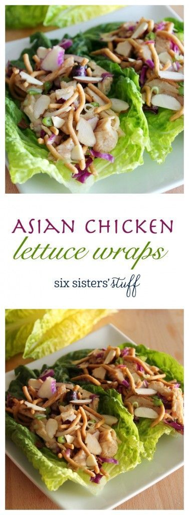 Asian Chicken Lettuce Wraps by Six Sisters' Stuff   These delicious and light wraps are a perfect idea for a healthy lunch! You'll find yourselves eating the filling straight from the bowl!