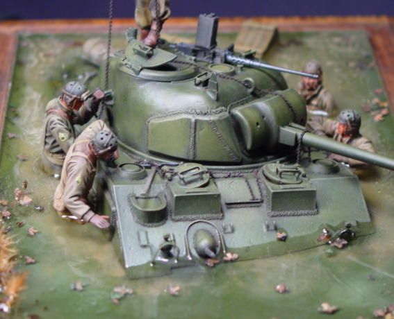 Some cool pics of a Sunken M4 Sherman Diorama using Verlinden products and separate figures. The result is fantastic @ https://www.hobbylinc.com/verlinden-submerge-sherman-tank-resin-military-diorama-kit-1:35-scale-1685
