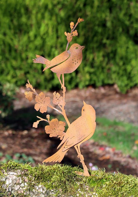 Metal Birds On Branch Metal Bird Art Bird Gifts Women Bird Gifts For Mom Yard Art Garden Decor Garden