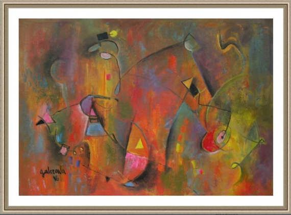 Large Abstract Painting With Horses The by PaintingsGalceava