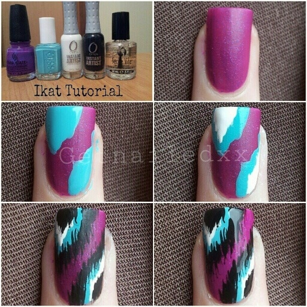 Cute And Easy Nail Design! Purple, Black, Teal, White