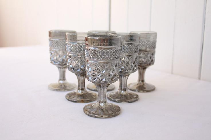 Vintage Cordial Glasses Hollywood Regency Wexford Pewter Mist Anchor Hocking Glassware Barware Etsy