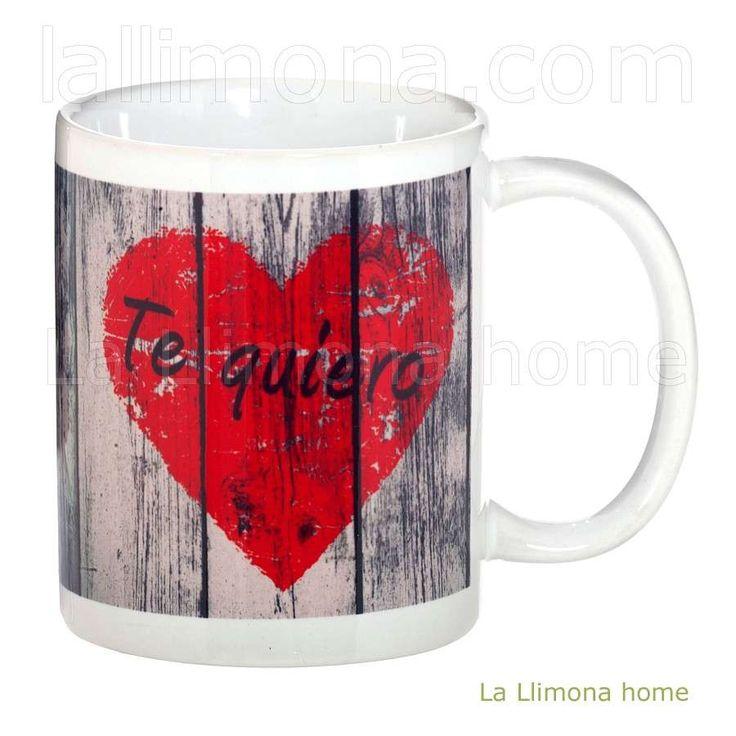 Taza con mensaje corazón rojo: Te Quiero. http://www.lallimona.com/online/tazas-con-mensaje/