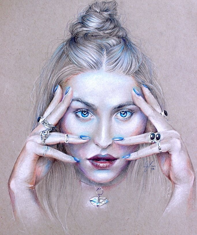 Colored pencil and pastel drawing by Georgina Kreutzer